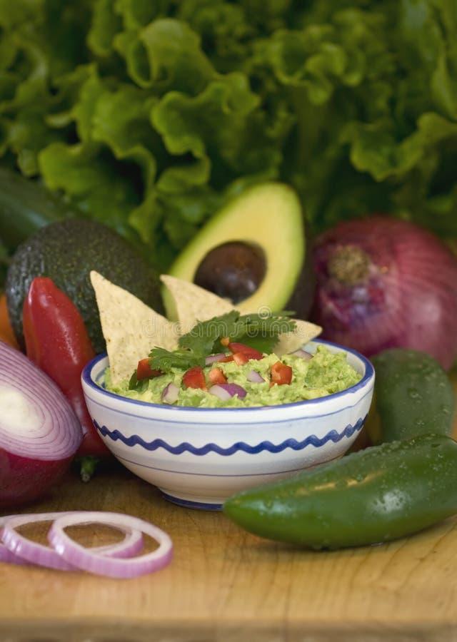 Guacamole und Chips lizenzfreies stockbild