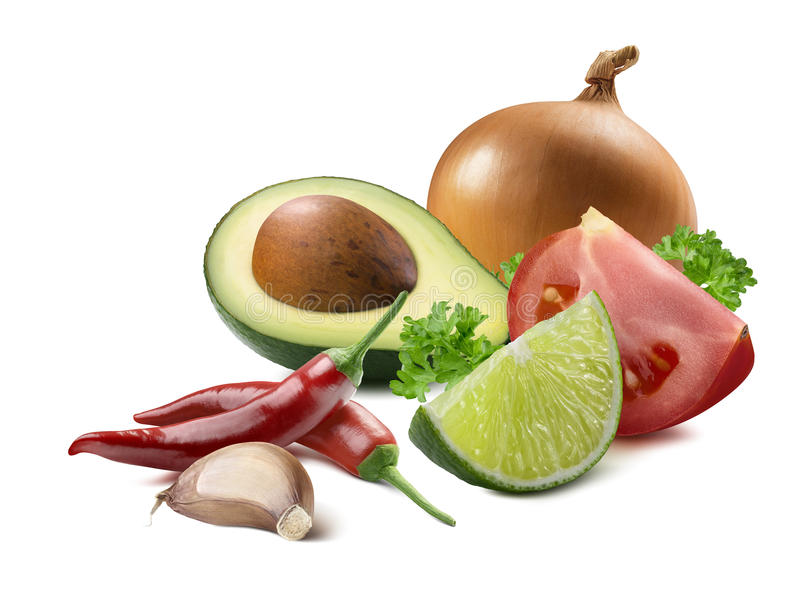 Guacamoleavocadoknoblauchkalkgelbzwiebel-Tomatenbestandteile ist stockfoto