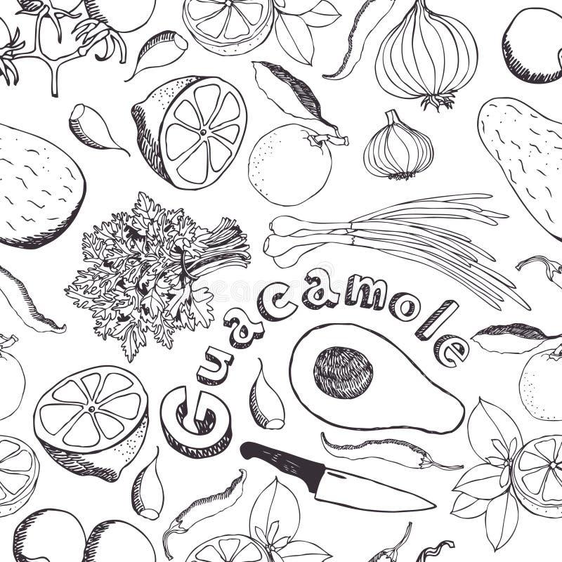 Guacamolekökbakgrund vektor illustrationer