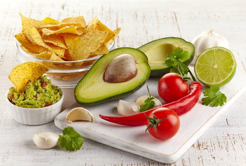 Guacamoleonderdompeling en nachos stock afbeelding