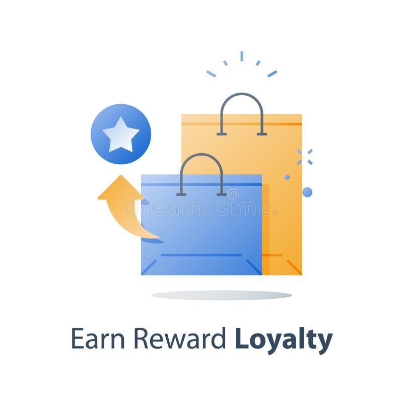 Guadagni i punti della ricompensa, il concetto di lealtà, programma incentivo, riacquisti il regalo, raccolga l'indennità illustrazione di stock