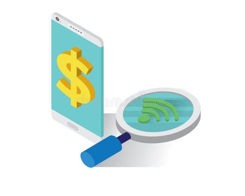 Guadagni i soldi dal concetto isometrico delle icone del telefono cellulare, vettore online dell'illustrazione dei soldi, guadagn illustrazione vettoriale