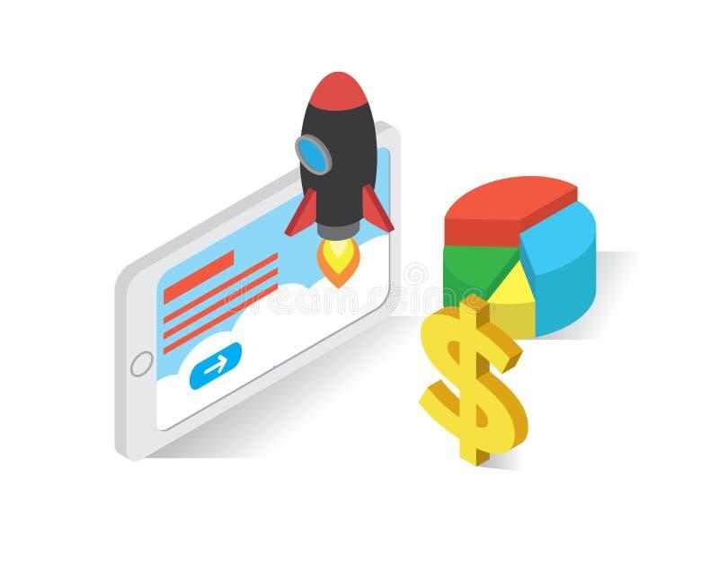 Guadagni i soldi dal concetto isometrico delle icone di inizio su, vettore dell'illustrazione del sito Web, avvii su illustrazione di stock