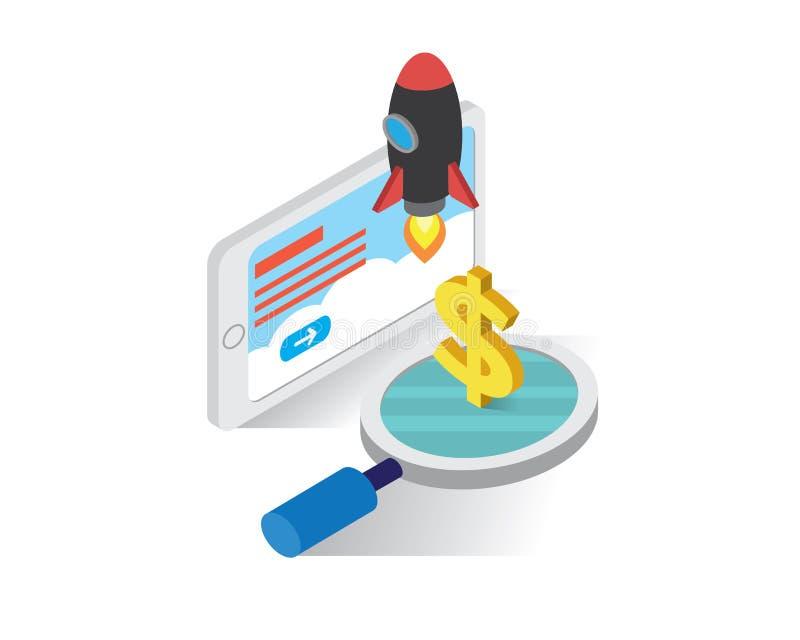 Guadagni i soldi dal concetto isometrico delle icone di inizio su, vettore dell'illustrazione del sito Web, avvii su royalty illustrazione gratis