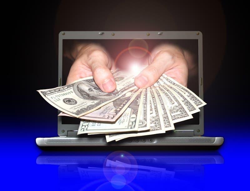 Guadagni i soldi dal Internet immagine stock libera da diritti