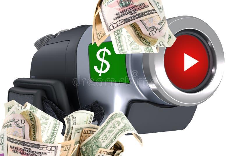 Guadagni i soldi dal vostro video illustrazione vettoriale