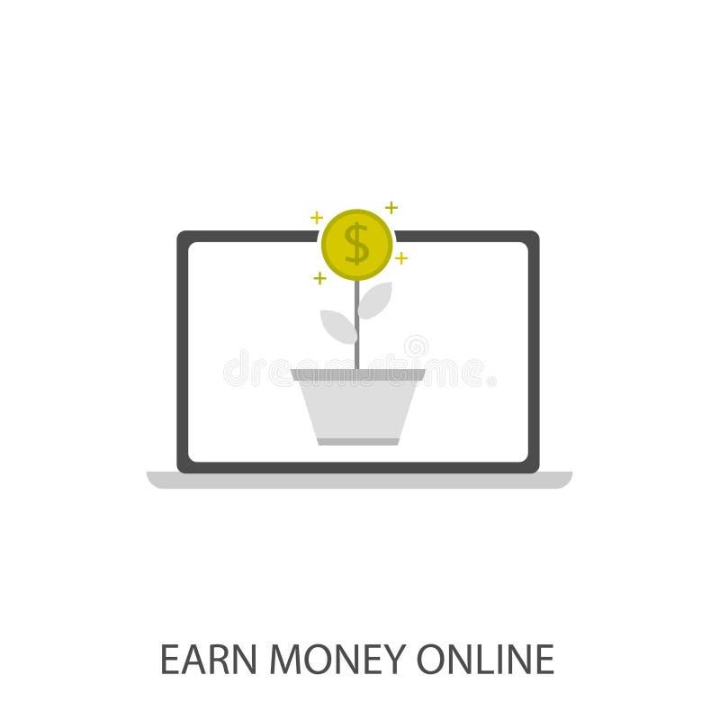 Guadagni i soldi in linea illustrazione di stock