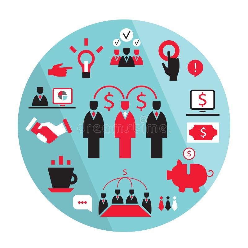 Guadagni piani dei soldi di associazione degli elementi di affari illustrazione di stock