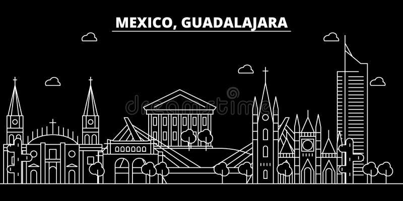 Guadalajara konturhorisont Mexico - Guadalajara vektorstad, mexikansk linjär arkitektur, byggnader guadalajara royaltyfri illustrationer