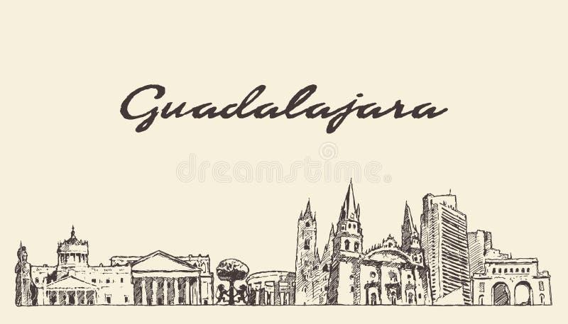 Guadalajara linia horyzontu Jalisco Meksyk wektorowy nakreślenie royalty ilustracja
