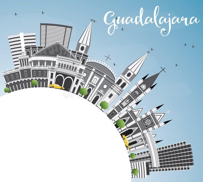 Guadalajara linia horyzontu z Szarą budynków, niebieskiego nieba i kopii przestrzenią, royalty ilustracja