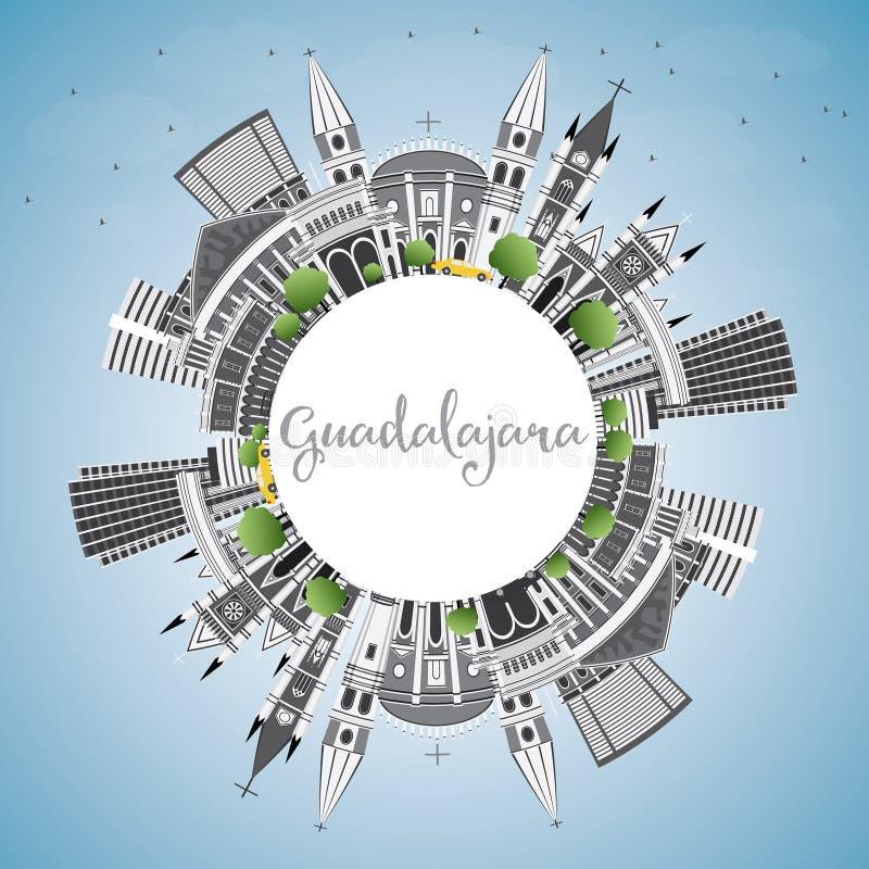 Guadalajara linia horyzontu z Szarą budynków, niebieskiego nieba i kopii przestrzenią, ilustracji