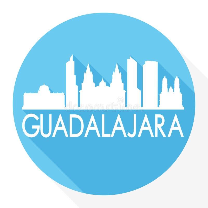 Guadalajara Meksyk ikony Round Wektorowej sztuki cienia projekta linii horyzontu miasta sylwetki szablonu Płaski logo ilustracja wektor