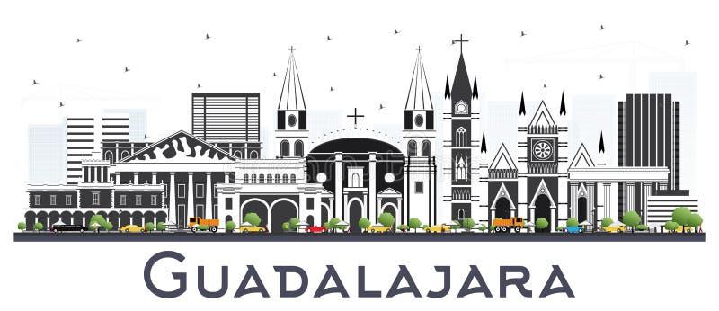 Guadalajara Meksyk linia horyzontu z Szarymi budynkami Odizolowywającymi na bielu royalty ilustracja