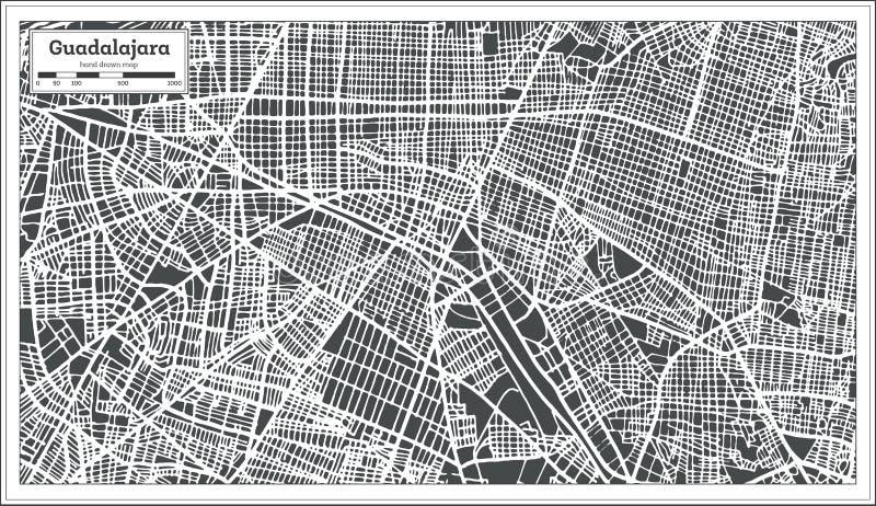 Guadalajara Meksyk mapa w Retro stylu Czarny i biały wektorowa ilustracja ilustracja wektor
