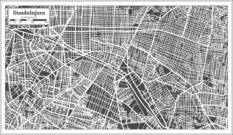 download guadalajara mexico city map in retro style outline map stock vector illustration