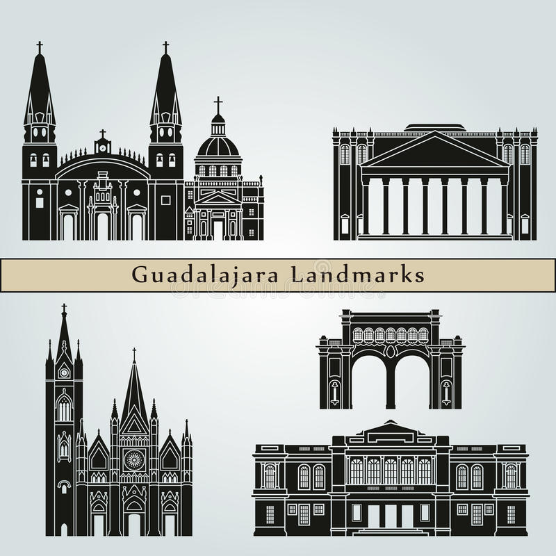 Guadalajara punkty zwrotni ilustracja wektor