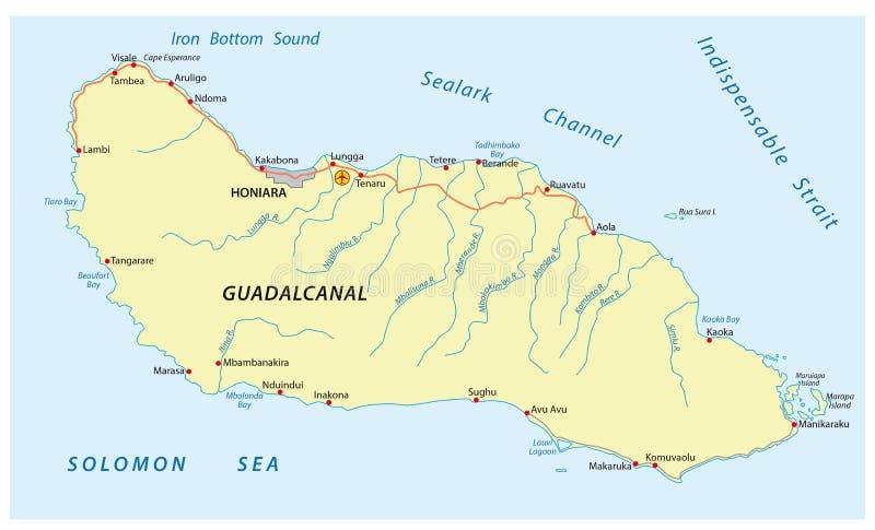 Guadalcanal Island map stock vector Illustration of island 83607131