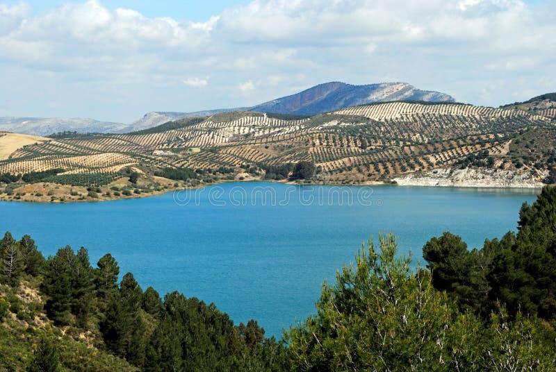 Guadalhorce Lake nära Ardales, Spanien. arkivbild