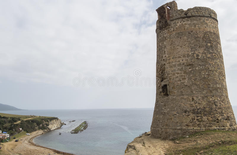 Guadalmesi-Wachturm, Straßen-Naturpark, Cadiz, Spanien stockbild