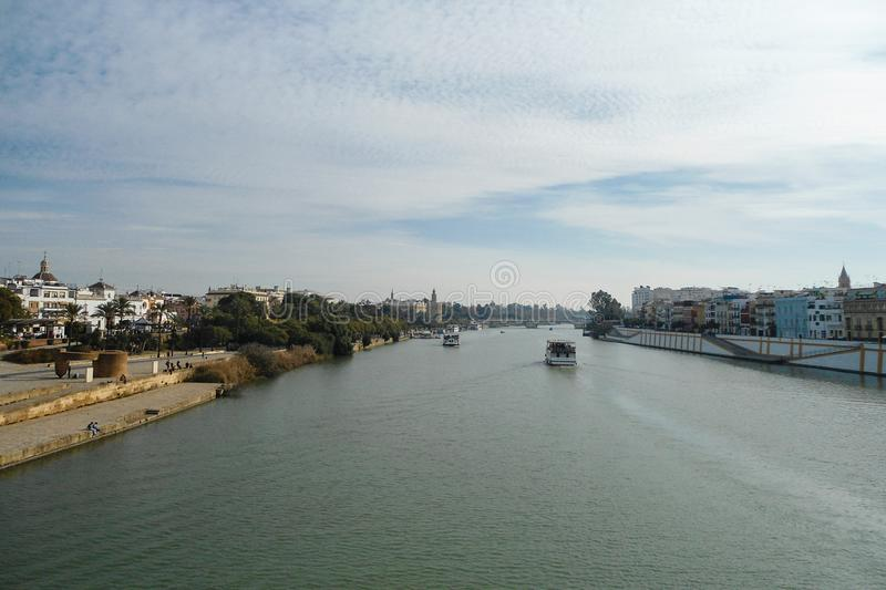 Guadalquivir river in Sevilla city Spain andalucia. Detail view panoramic royalty free stock photography