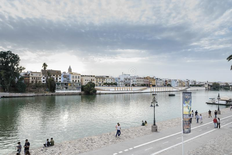 Guadalquivir river in Seville city, Andalusia , Spain stock photo