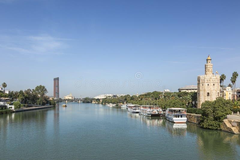 Guadalquivir River, Seville, Spain. Image of the river Guadalquivir and some architectural landmarks in Seville, Spain stock photo