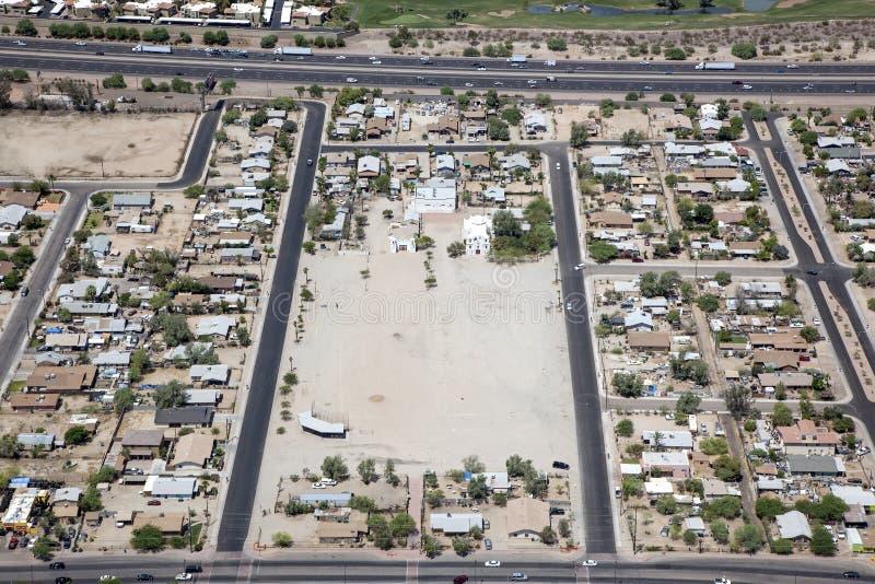 Guadalupe, Arizona. Rooftops of Guadalupe, Arizona east of Interstate 10 near Phoenix stock photo