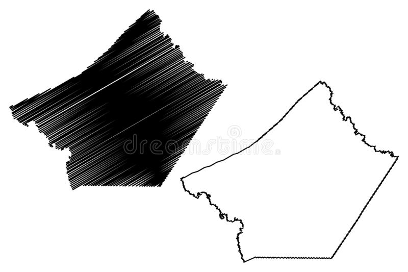 Guadalupe County, Texas Counties in Texas, United States of America,USA, U.S., US map vector illustration, scribble sketch. Guadalupe map royalty free illustration