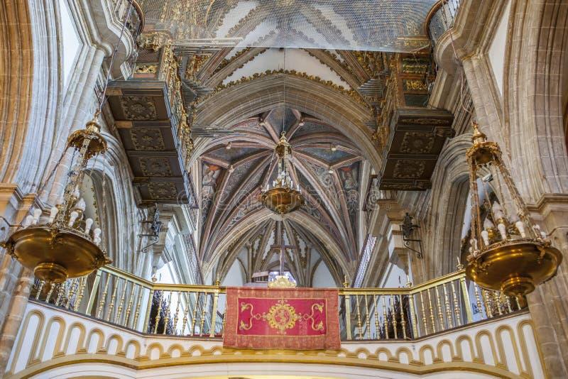 Guadalupe Monastery Basilica Choir, Spain. Virgin of Guadalupe Monastery Church indoor. Choir area royalty free stock photo