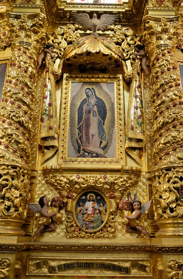 Guadalupe Virgin inside the Church of Santo Domingo, Oaxaca. Image inside of the Church of Santo Domingo de Guzman in Oaxaca, Oaxaca Mexico stock photos