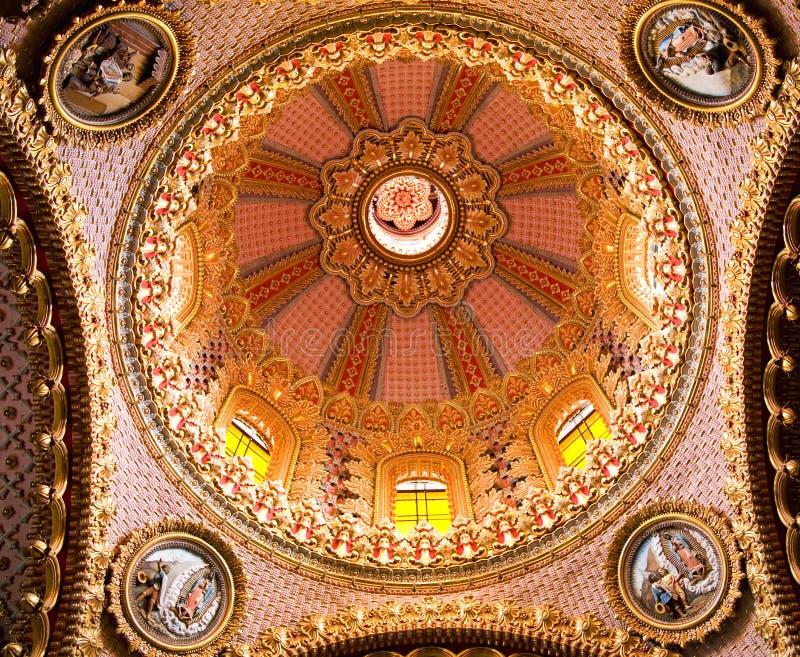 Guadalupita Church Interior Pink Gold Dome Mexico