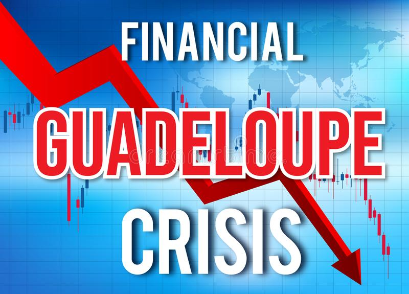 Guadeloupe Financial Crisis Economic Collapse Market Crash Global Meltdown. Illustration vector illustration
