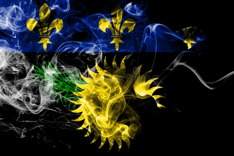 Guadeloupe inofficiell rökflagga, Frankrike beroende territoriumflagga royaltyfri illustrationer