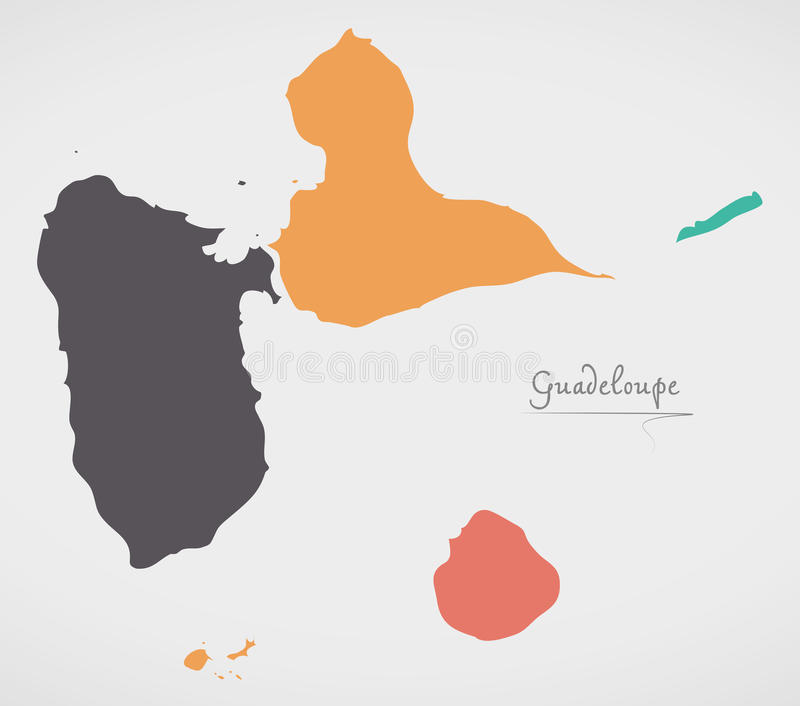 Guadeloupe Map with states and modern round shapes. Illustration vector illustration