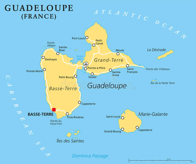 Guadeloupe Political Map Stock Vector Illustration Of Cruise - Where is france located