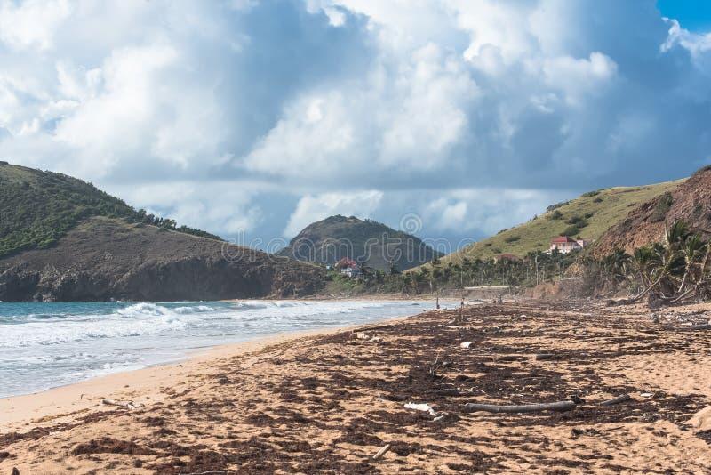 Guadeloupe, Strand nach dem Wirbelsturm stockbilder
