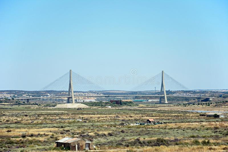 Guadiana International bridge, Castro Marim. The Guadiana international bridge which links Portugal to Spain and surrounding countryside on both sides of the royalty free stock photos