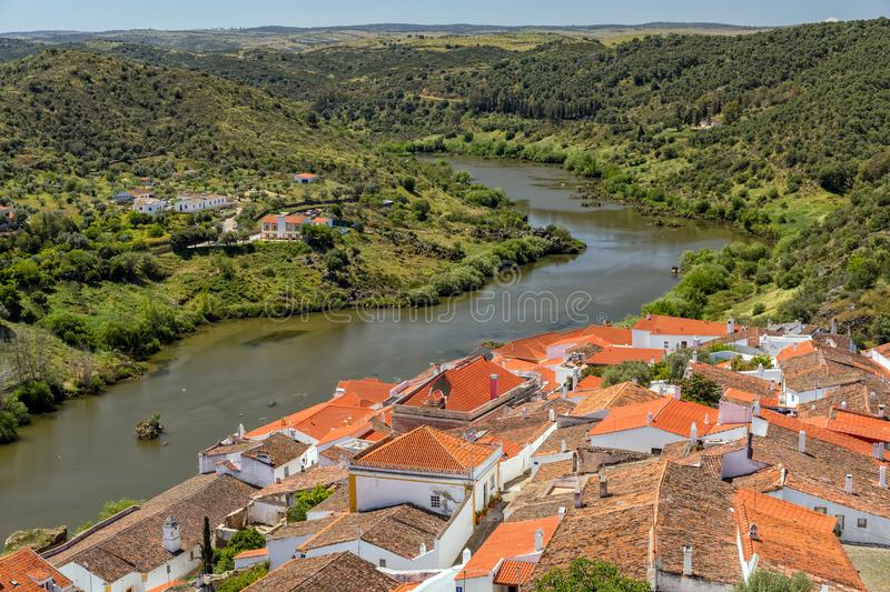 Guadiana River at Mertola, Alentejo, Portugal. royalty free stock photo
