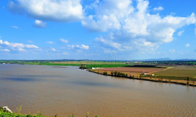 Guadiana River seen from the walls of Juromenha royalty free stock images