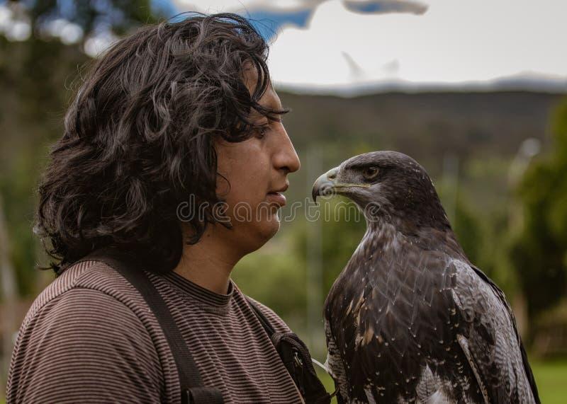 Gualaceo, Equateur/le 1er juin 2018 : Un homme tient un oiseau de proie à photographie stock libre de droits