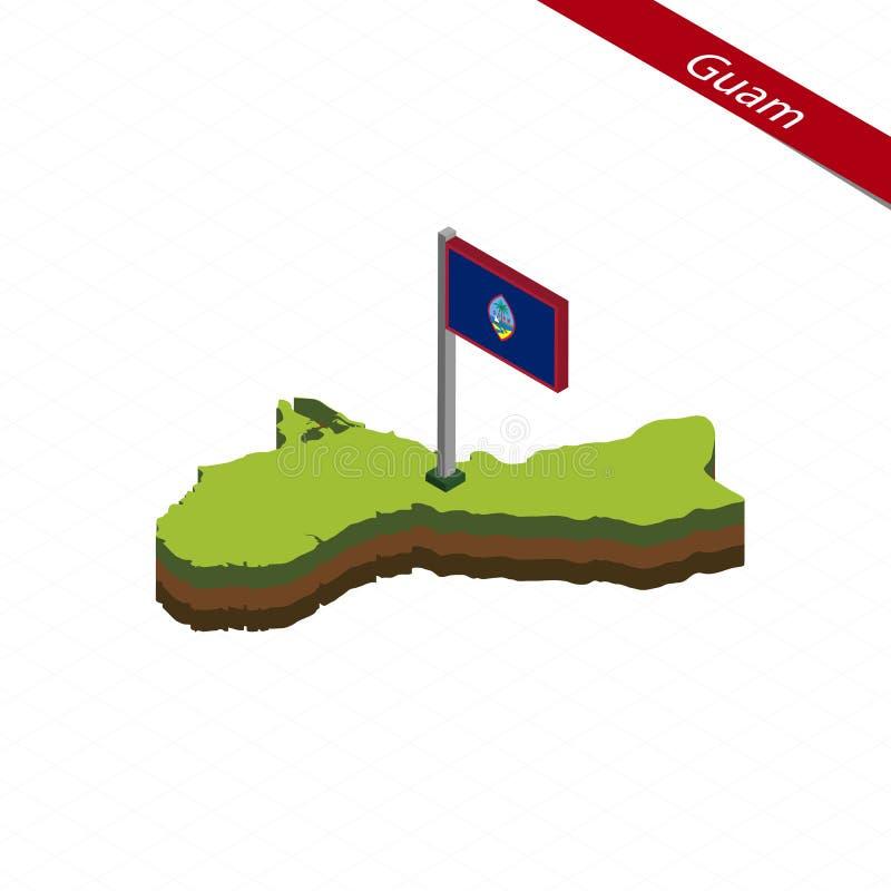 Guam isometrisk översikt och flagga också vektor för coreldrawillustration vektor illustrationer