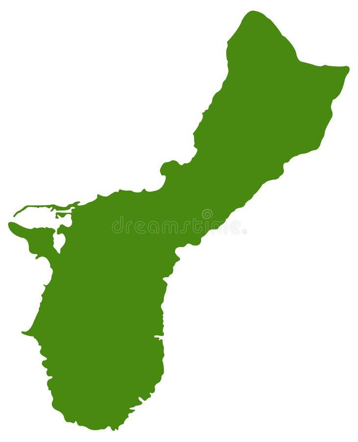 Guam mapa - wyspa kraj w oceanie spokojnym ilustracji