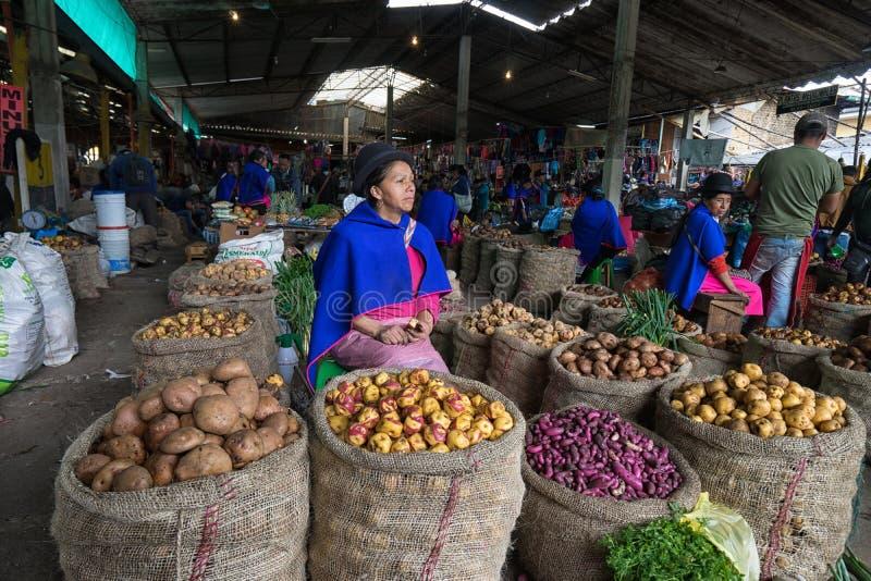 Guambiano kvinna som säljer potatisen i Silvia, Colombia fotografering för bildbyråer