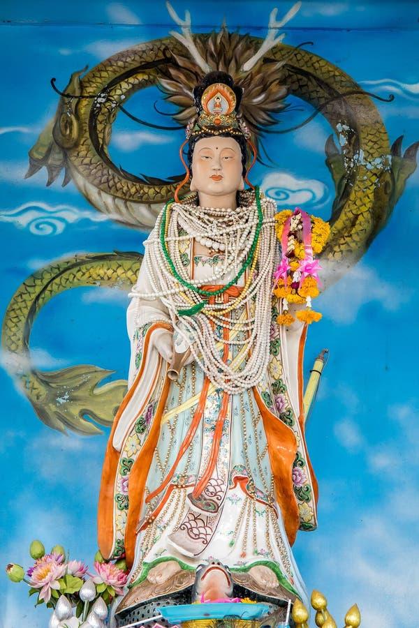 Guan Im eller GuanIm staty i Bangkok, Thailand arkivbilder