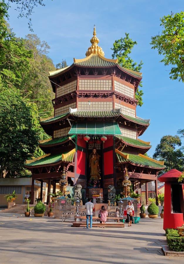 Guan Yin pagoda at place of Tiger Cave Temple (Wat Tham Suea) royalty free stock photo
