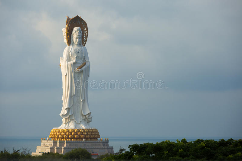 Guan Yin white marble statue stock photos