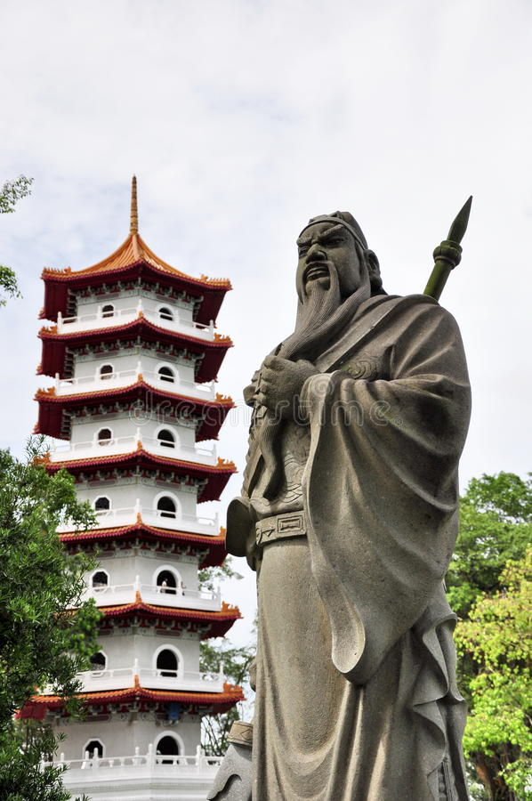 Download Guan Yu and Chinese pagoda stock image. Image of statue - 14308715