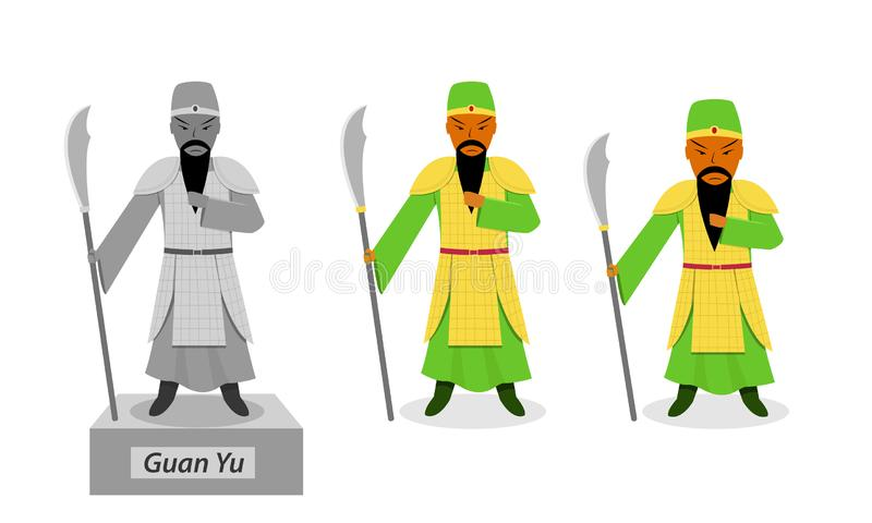 Guan yu - Chinese warrior isolated on white vector royalty free illustration