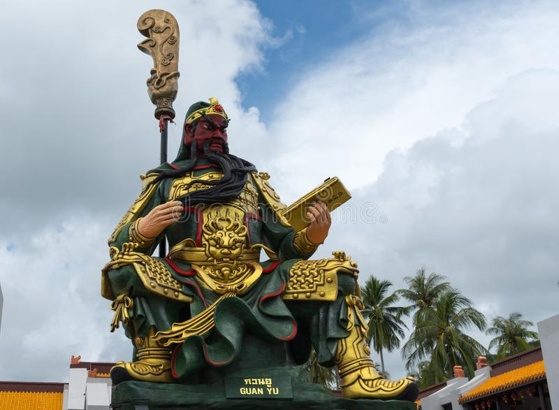 Guan yu at Hainan temple koh samui Thailand royalty free stock photography